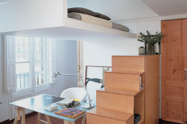 Floating Bed With Wood Stairs End Bookshelves A Glass Top Table With Wood  Legs A White With Small Room Interior Design