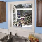 fresh blue kichen ideas with garden bay windows for kitchens above the sink and fresh fruit and ceramic arts plus plant