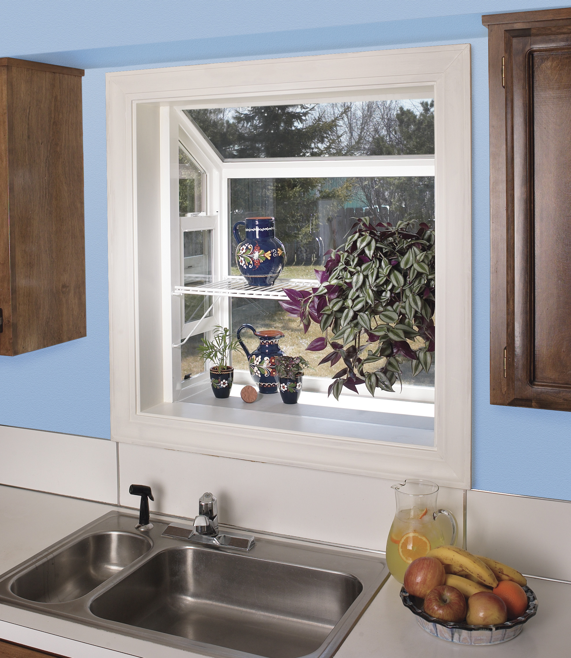 fresh blue kichen ideas with garden bay windows for kitchens above the sink  and fresh fruit