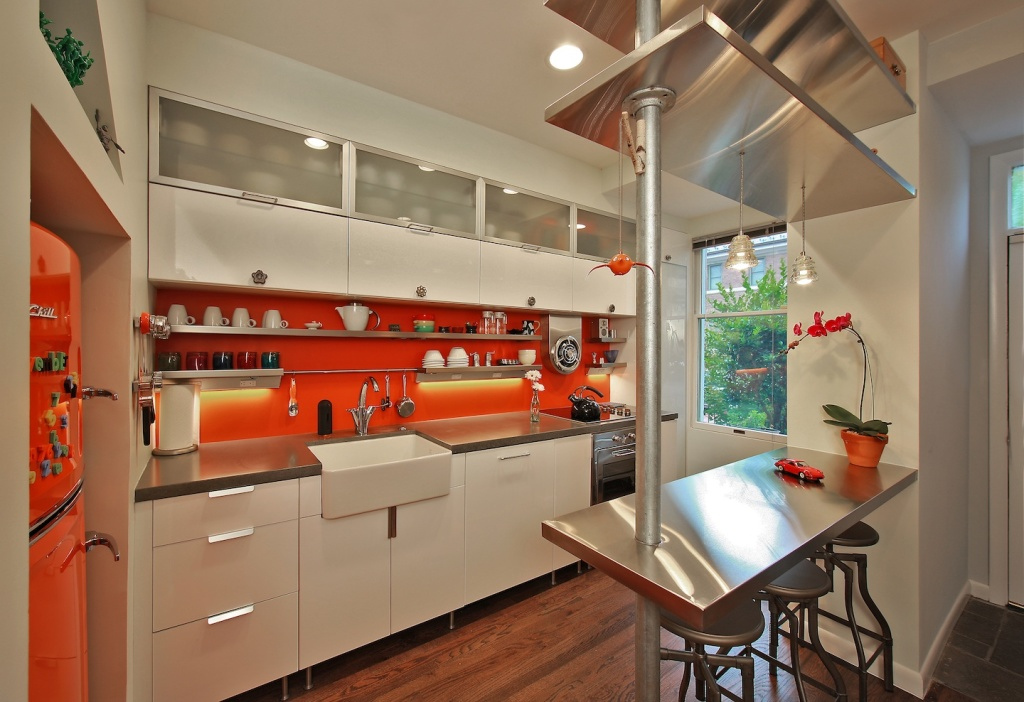 Fresh Kitchen Remodeling Northern Va With Orange Wall And White Kitchen  Cabinets Plus Steel Countertops And