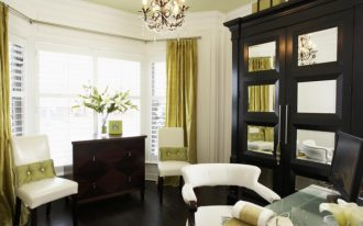 fresh window coverings for bay windows in green curtain in home office room with stylish chairs and wooden cabinet plus office desk and pretty chandeliers