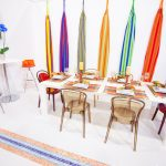 Fun And Colorful Furniture For Meeting Room  A Set Of Transparent Semi Glass Plastic Chairs And Table White Surface Standing Desk
