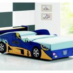 fun blue car beds for toddlers and blue bedding set plus white floor and interesting wall with pictures on it