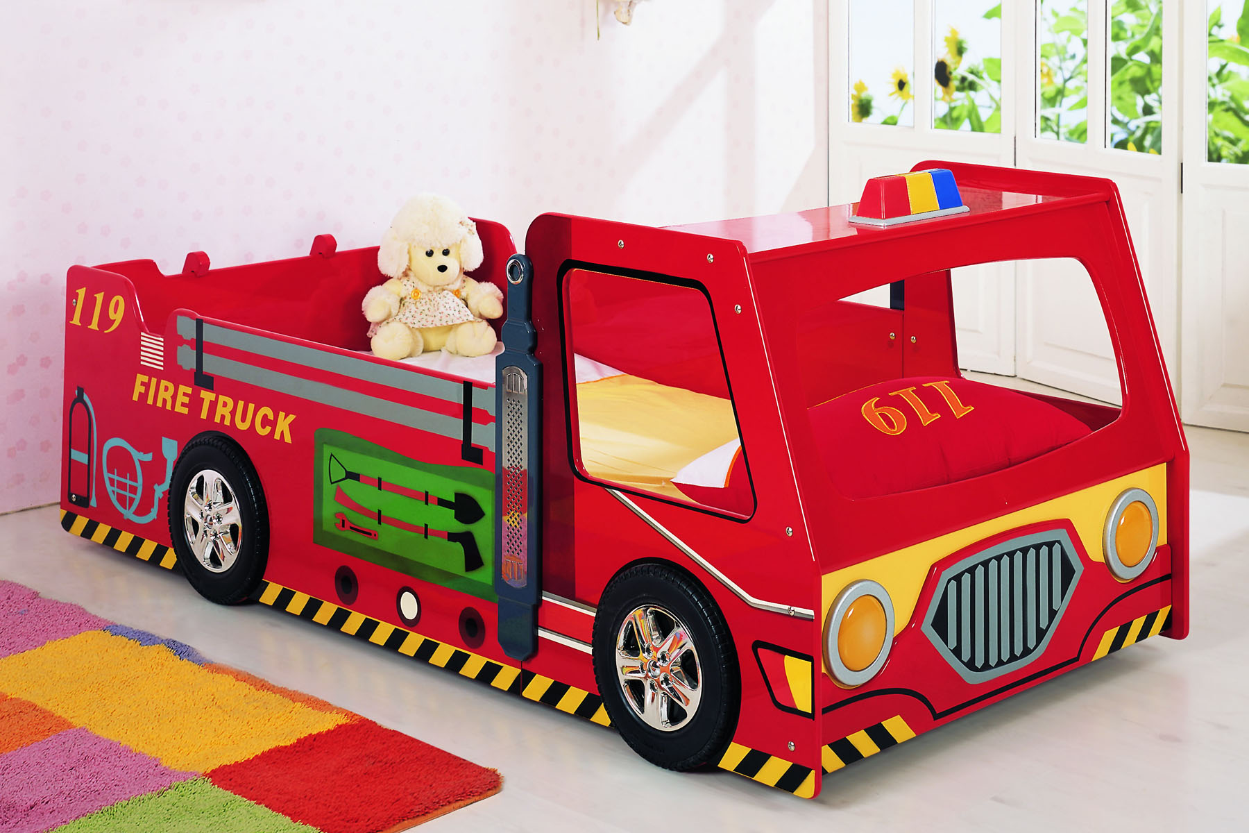 funny red fire truck race car beds for toddlers with cream bedding sheet and red pillow