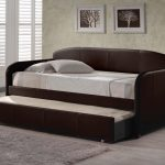 furniture-brown-wooden-frame-daybeds-with-trundles-and-twin-white-bedding-set-plus-grey-fur-rug-on-grey-floor-beautiful-design-of-daybeds-with-trundles-showing-pretty-looks-for-your-inspira