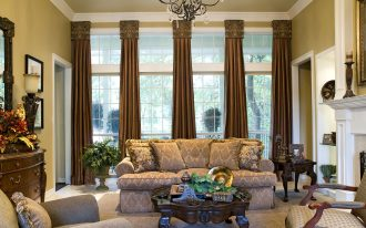 glamorous window treatments for wide windows with brown curtain on glass window plus livingroom with awesome sofa and cushions and unique wooden table