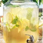 glass beverage dispenser with metal spigot for fresh drinks and lemonade