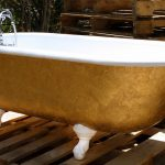 golden colored bathtubs in vintage style combined with tub faucet for outdoor bathroom ideas