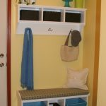 Good Cool Practical Mudroom Design With Simpe Blue And White Color Concept And Has Some Hooks With A Coat Hanged