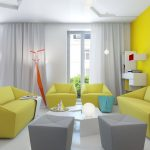 gorgeous and colorful florida living room idea with yellow modern sofa and gray puff and white coffee table and yellow wall and large glass window with white curtain