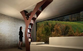 gorgeous and spacious interior design with luxurious modern seating and wonderful hitech wall accent with tree shaped bookshelf