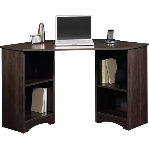gorgeous dark wooden ikea corner small desk design with glass countertop with storage