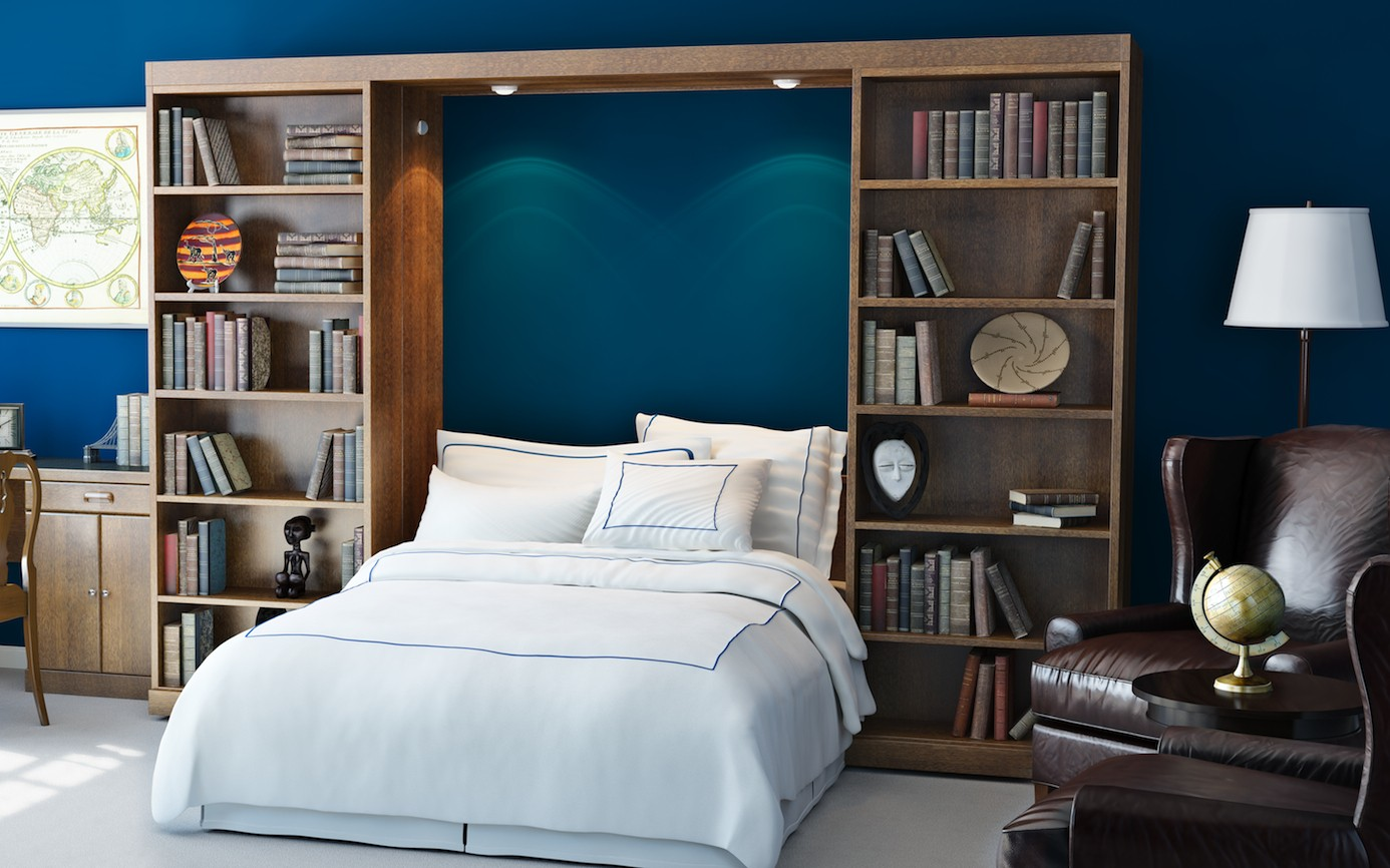 Fold up wall bed a brand new style to have comfortable bedroom gorgeous flod up wall bed design on blue wall between wooden storage aside leather chair beneath amipublicfo Images