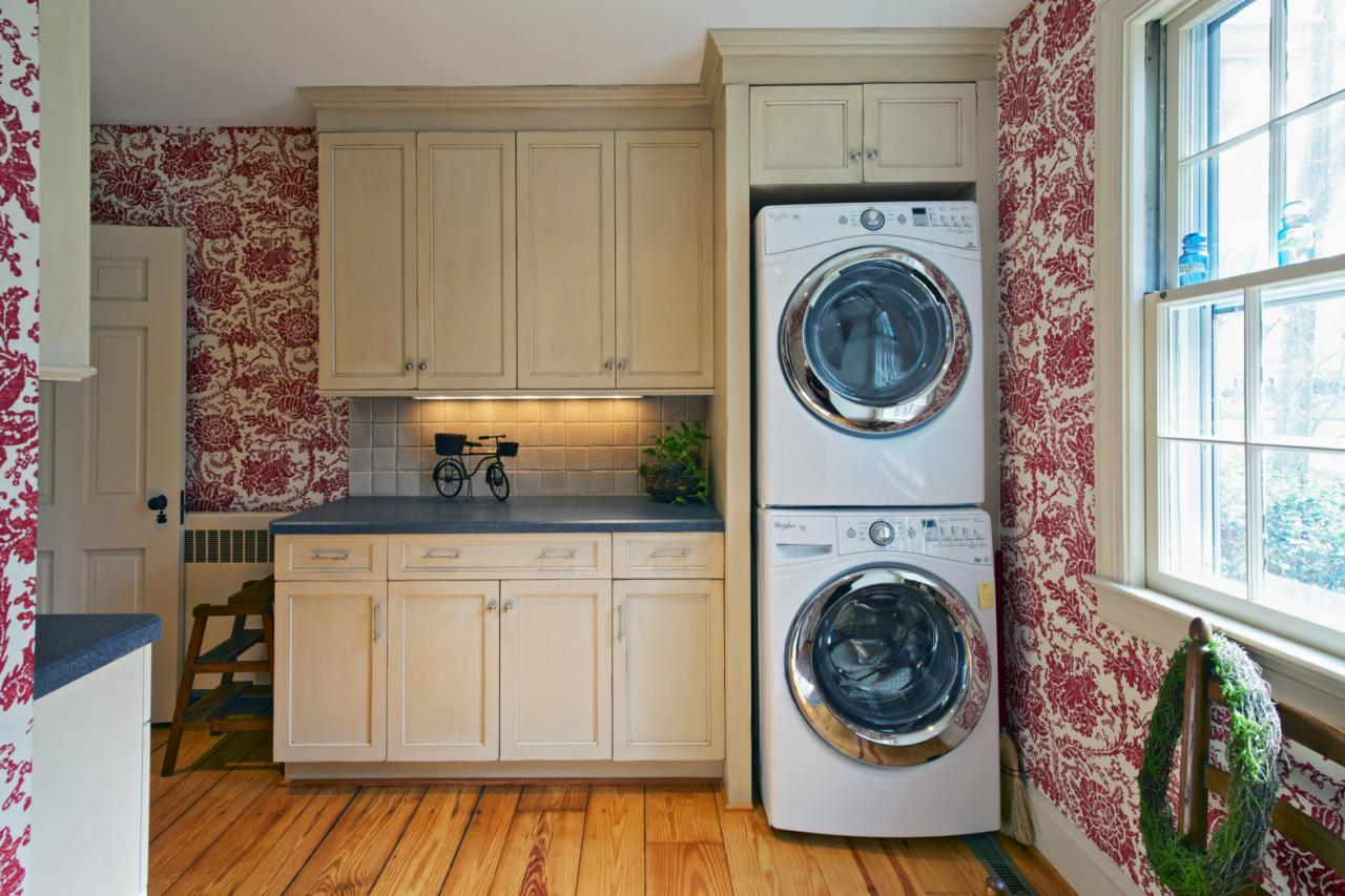 Gorgeous Laundry Room Design With Wooden Floor With Glass Window With White  Wooden Washr Dryer Cabinet