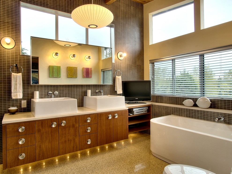 Simple Mid Century Vanity Bathroom Modern With Double Vanity Flush Cabinets