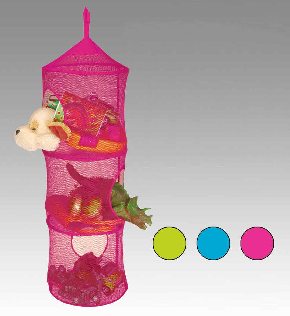 Gorgeous Pink Vertical Hanging Stuffed Animal Design With Three Sections  With Round Base And Home Roof