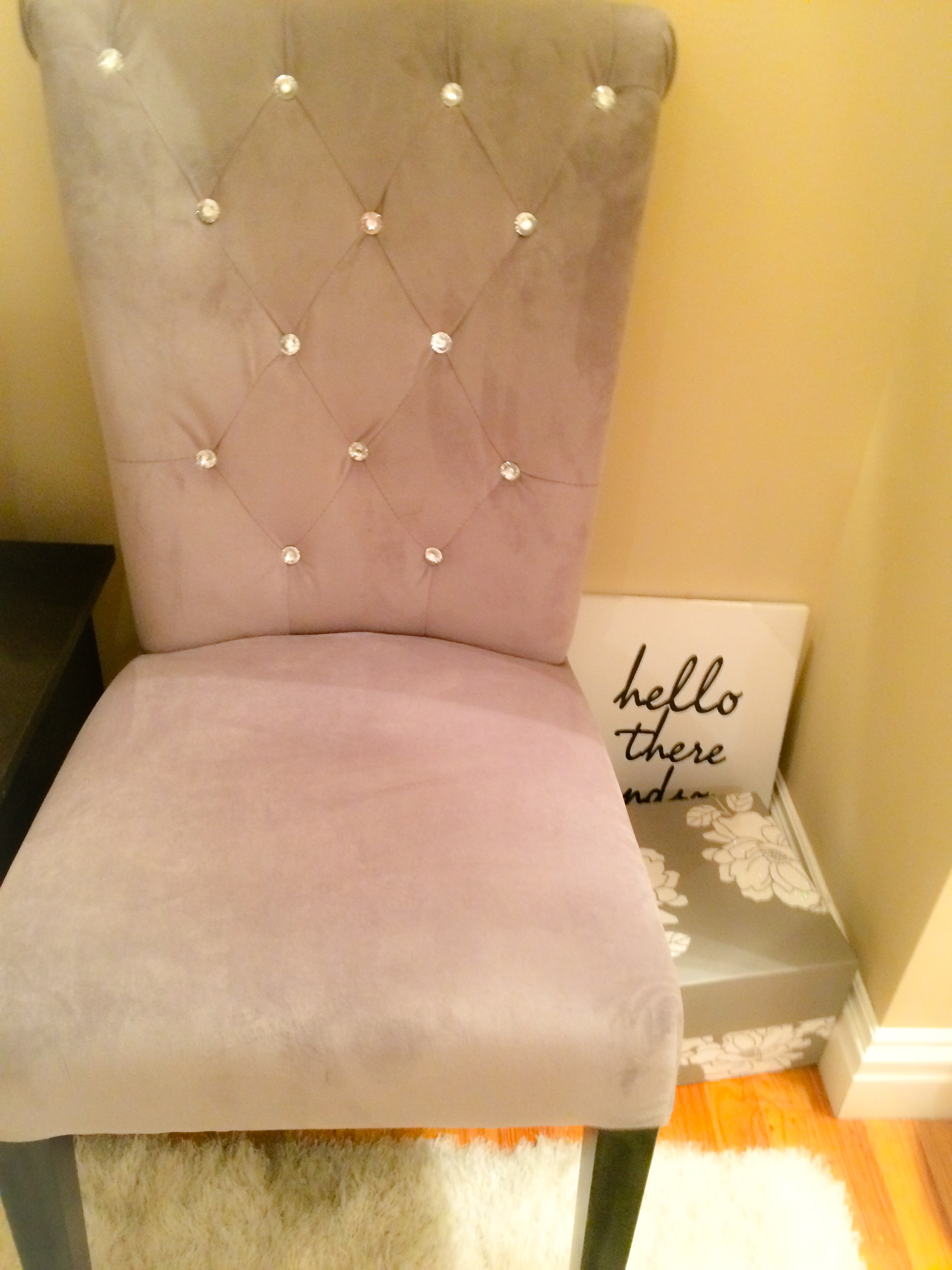 Gorgeous Pinky Tall Backrested Chair Design With Tuft Pattern Aside Cream  Side Table Beneath Yellow Wall