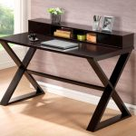 gorgeous wooden modern slim computer desk design with crossed legs design with upper storage aside large glass window