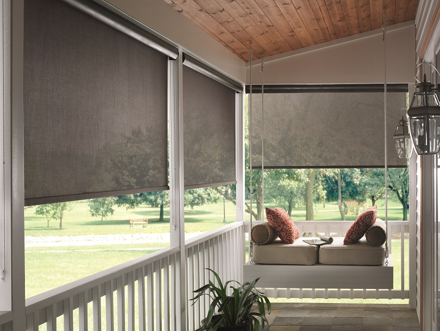 graber blinds with solar shades for outdoor with hanging chairs with cushions and tile flooring and glass wall scones for patio