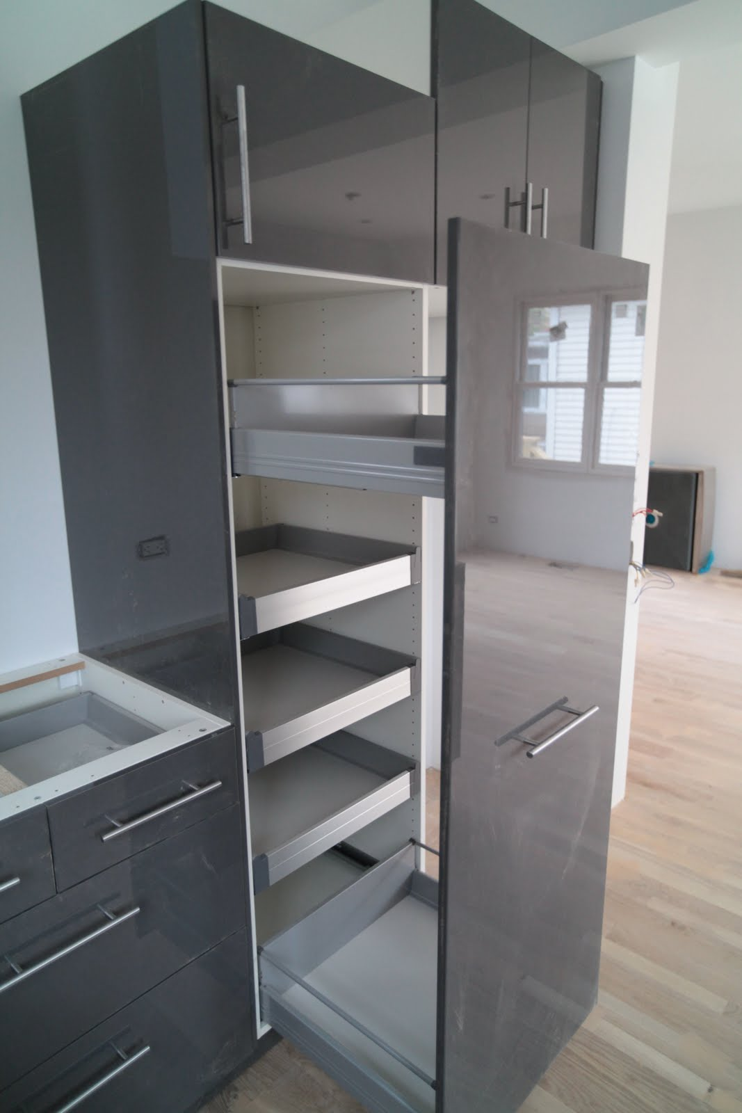 Gray Ikea Pull Out Pantry In Modern And Stylish Design And Glossy Surface For Home Furniture Pullout Pantry Shelves