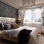 great modern bedroom design with gray wall idea and tufted tal headboard and white sofa and floor lamp and laminated flooring idea