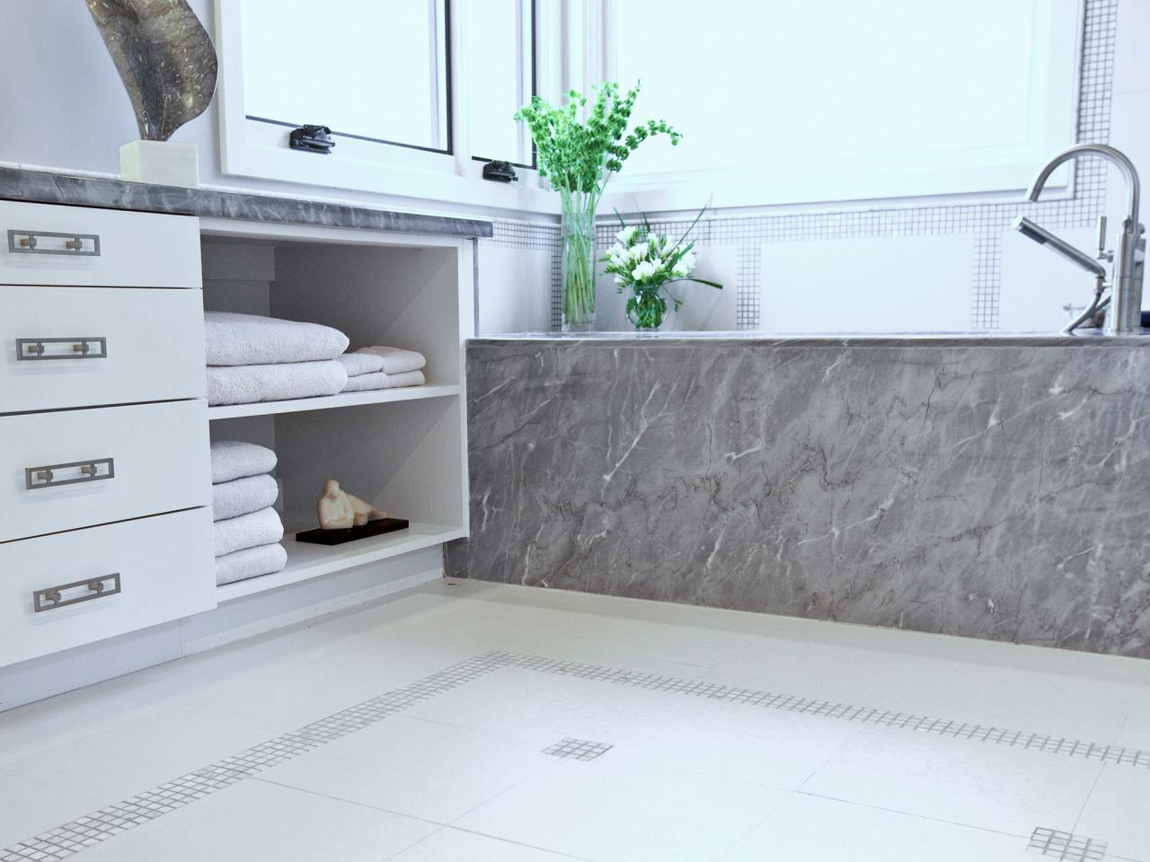 Grey Porcelain Tile That Looks Like Marble For Bathtub And White Tile Floor Bined With Modern