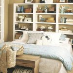 headboards at ikea with shelving wall space with white bedding set and wooden stool plus art display and rug and blanket