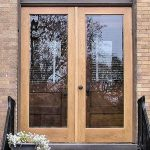 Hinged Wood Screen Door With Transparent Glass Panels