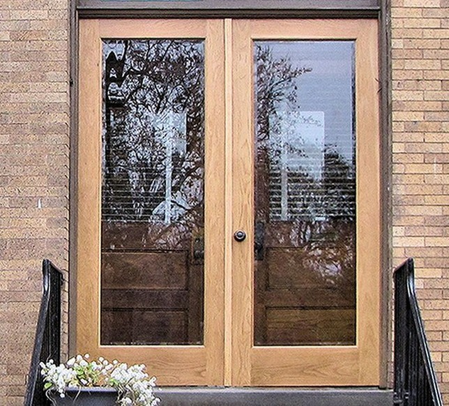 Genial Hinged Wood Screen Door With Transparent Glass Panels