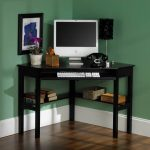 ikea wooden computer desks for small spaces home office in corner with keyboard sliding panel plus table lamp and wooden floor