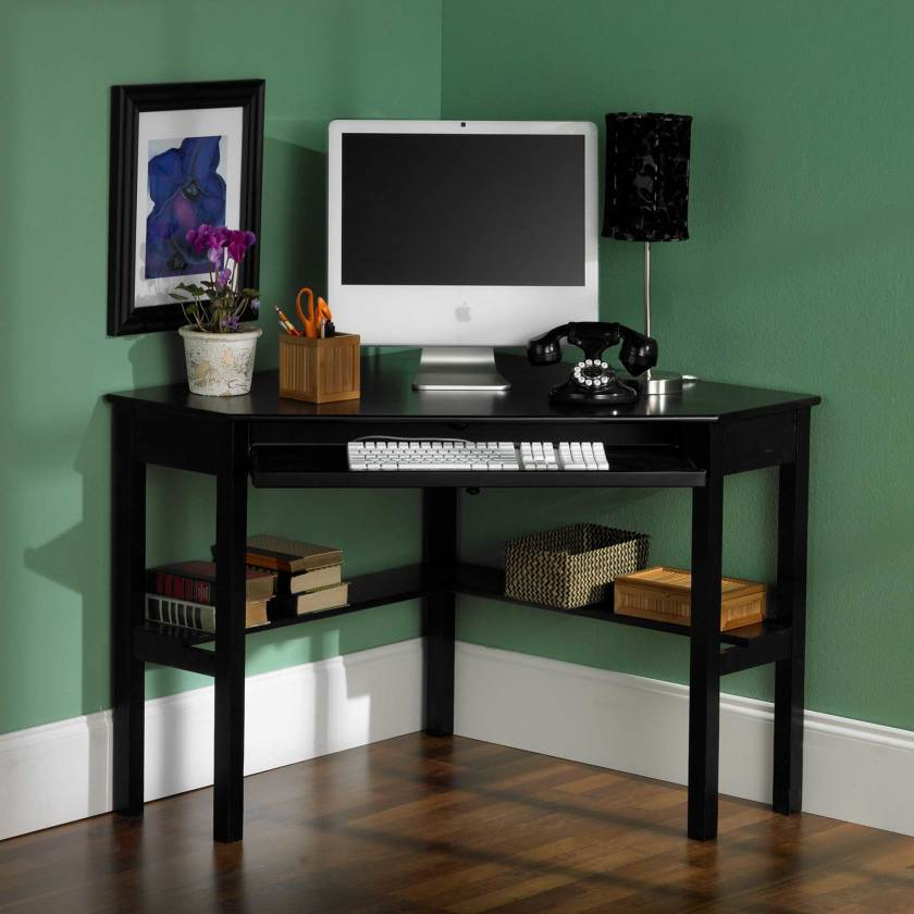 ikea wooden computer desks for small spaces home office in corner with
