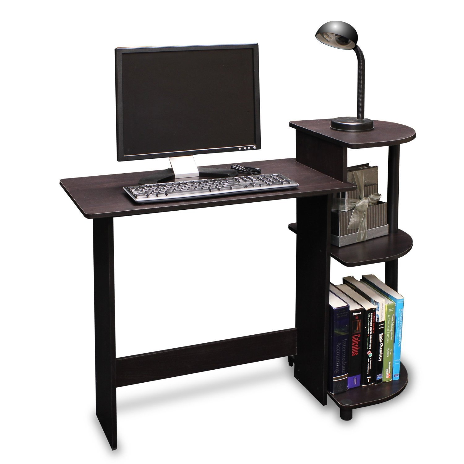 Space Saving Home Office Ideas with IKEA Desks for Small  : ikea wooden computer desks for small spaces home office with shelving for books and spot light from homesfeed.com size 1500 x 1500 jpeg 135kB