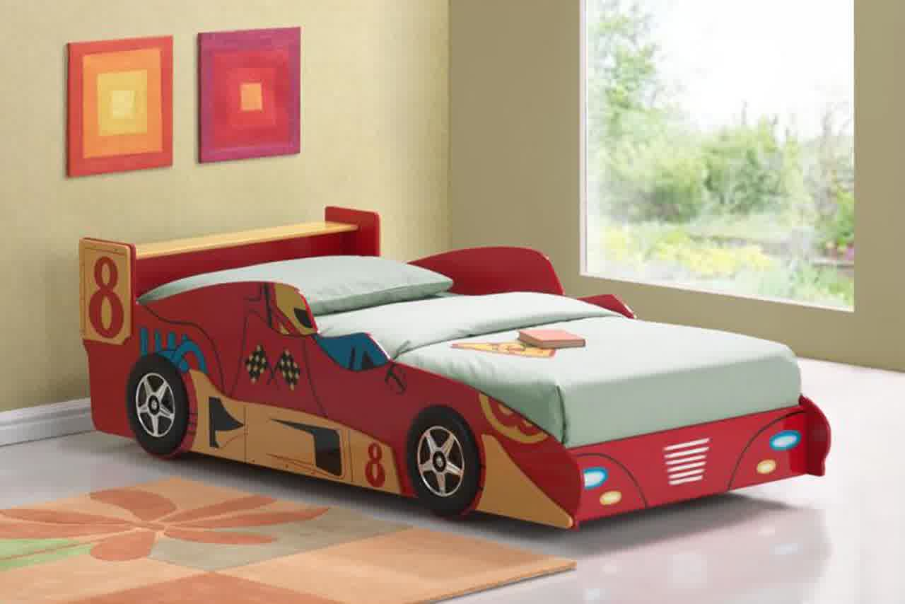 Wooden car beds for boys - Inspiring Car Beds For Toddlers With Wooden Bed Frame And Soft Bedding Plus Rug On Floor