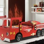 interesting fire truck car beds for toddlers in red bedding set plus wall mounted shelf plus modern black rug and tile for floors