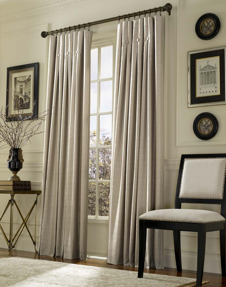 Inverted pleat drapes that will smarten your window for Living room curtains