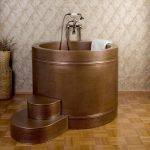 japanese soaking tub small in round shape plus sophisticated wall motif and magnificent flooring for nice looking bathroom ideas