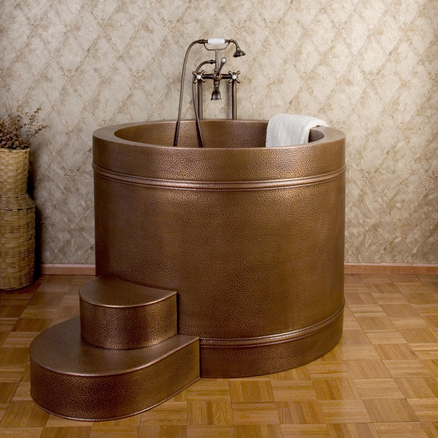 japanese soaking tub small in round shape plus wall motif and magnificent flooring for nice