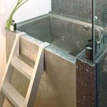 japanese soaking tub small in silver with stairs and impressive tile on bathroom wall suitable for small bathroom ideas