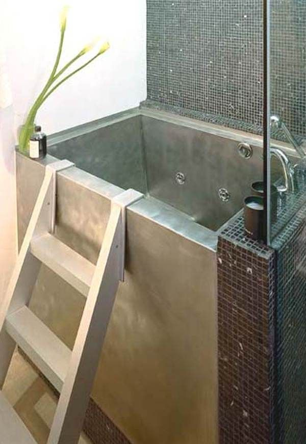 Ordinary Japanese Soaking Tub Small Part - 11: Japanese Soaking Tub Small In Silver With Stairs And Impressive Tile On  Bathroom Wall Suitable For