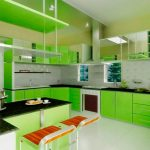 Kitchen Cheap Small Green Kitchens With Black Ubatuba Granite Countertops And Wall Mount Range Hood Also White Ceramic Flooring Fresh Green Kitchens Decoration