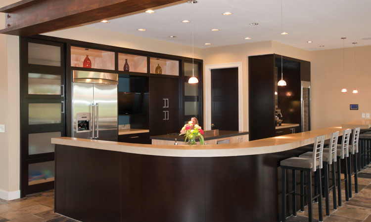 Kitchen Design With Table Bar And Barstools A Kitchen Island And Silver  Surface Kitchen Appliances Two