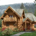 large and luxurious log home design with balcony