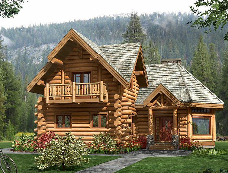 Genial Large And Luxurious Log Home Design With Balcony