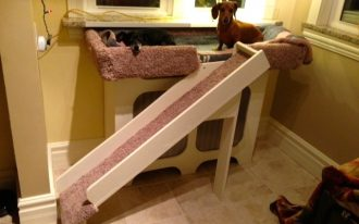 large dog window perch for two dogs from wooden with ramps and pink and grey cover