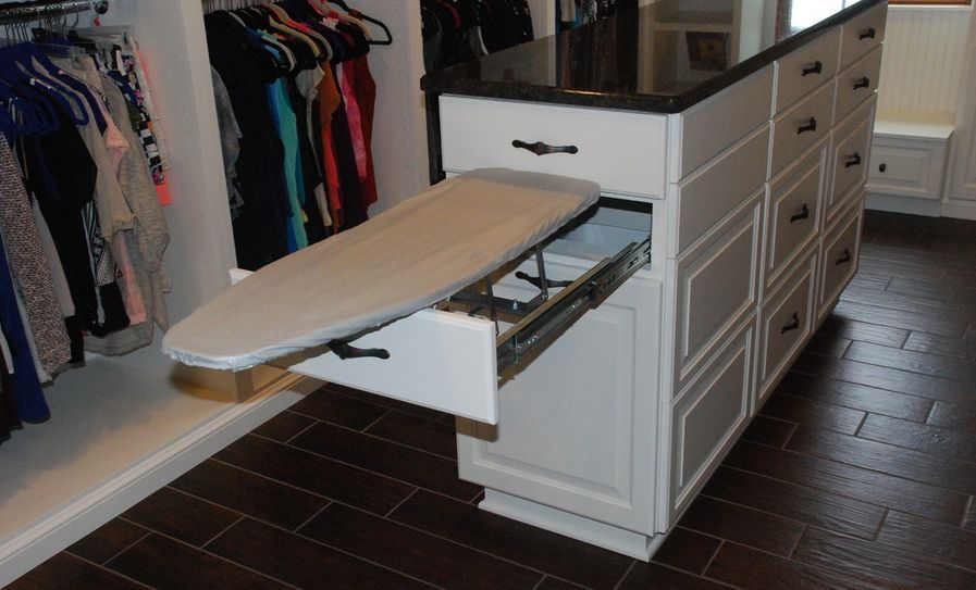 Large Walk In Closet Idea With Full White Stoage Design And Island Drawers Ironing