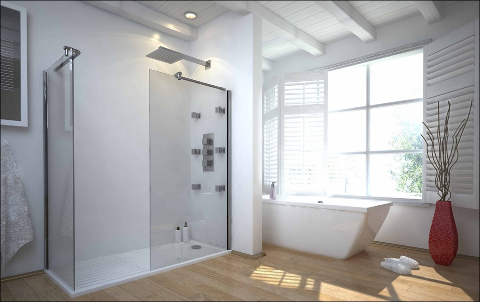 Amazing Large Walk In Shower With Transparent Glass Panels And No Door Wood Floors  Large White Bathtub