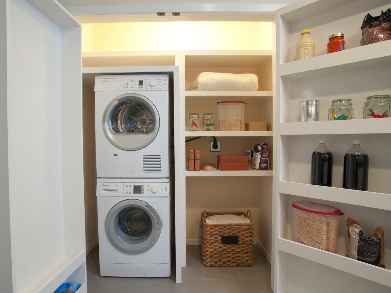 Large White Wooden Storage Design With Racks With Rattan Basket With Washer  And Dryer And Modern