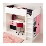 loft bed desk combo with built in stairs clothing closet and bookshelves a modern red chair with black wheels beautiful pink rug for floors