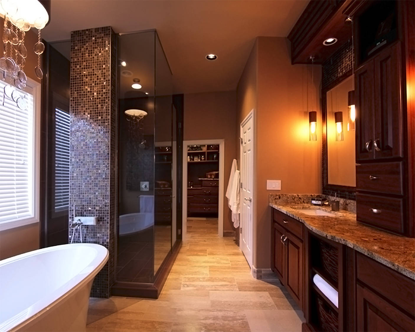 Luxurious Golden Bathroom Idea With Large Wooden Vanity Design Pendants And White Tub Beneath