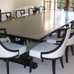 Luxurious White Dining Chairs Design With Black Wooden Frame For 12 Person Wooden Square Dining Table In Open Plan Room